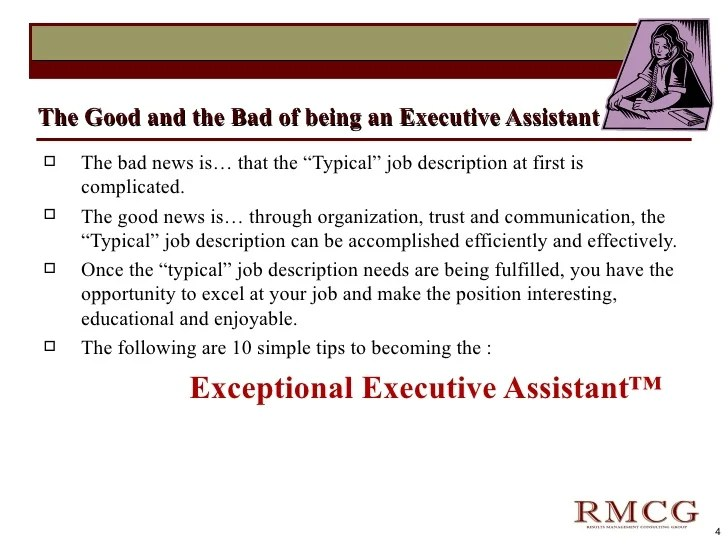 Job Description Executive Assistant To Principal | How To Write A