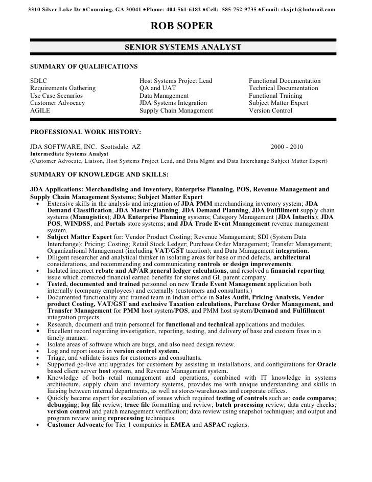 Senior Business Analyst Resume Example  Cover Letter Example For