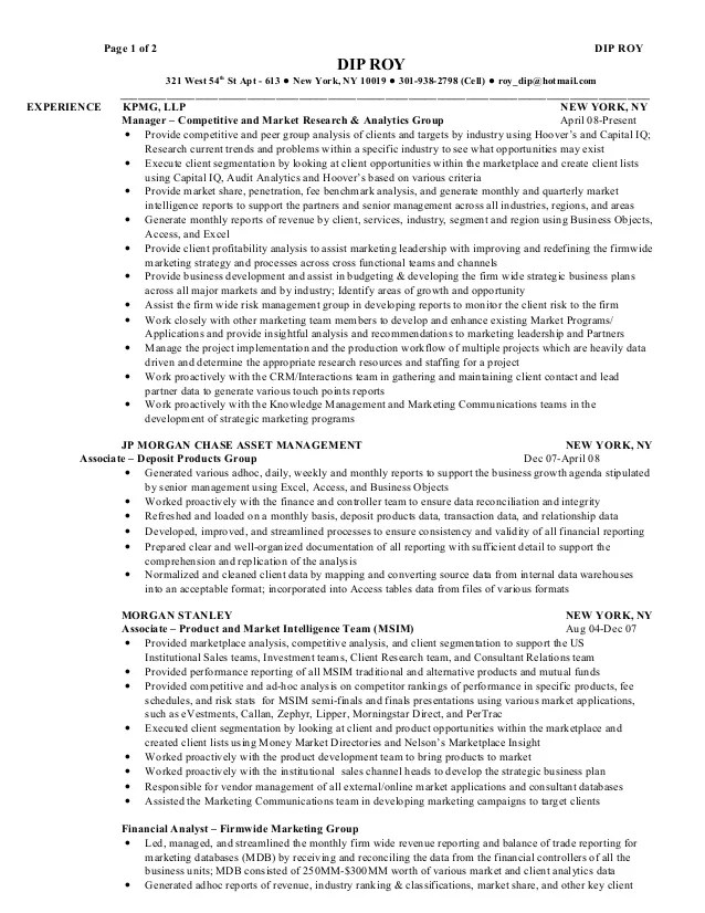 Equity Capital Markets Resume Images - free resume templates word