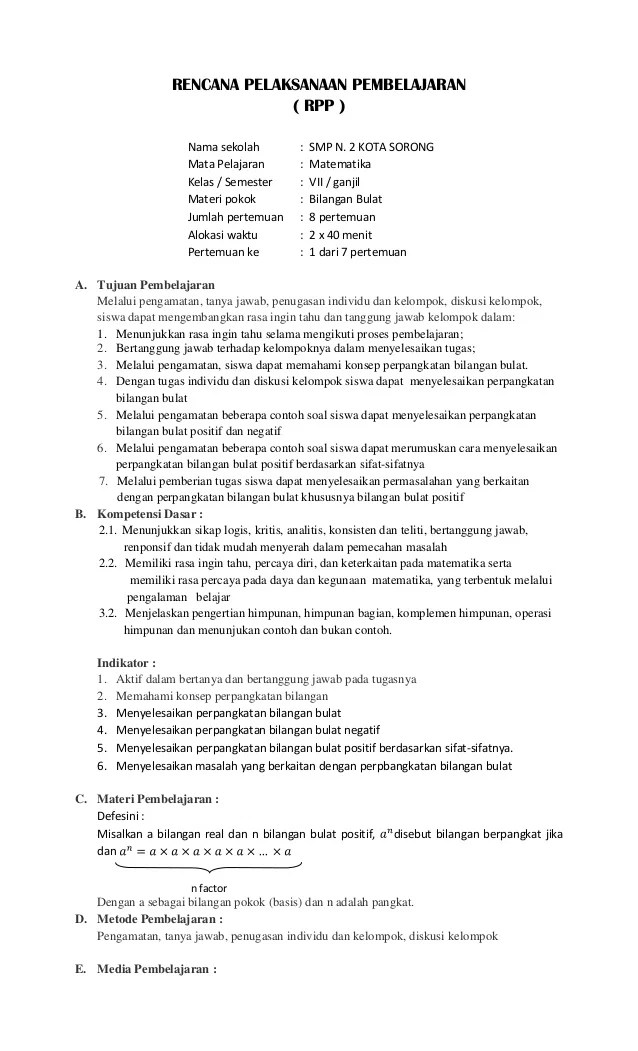 Rpp Matematika Smp Kur 2013 Rpp Lengkap Pkn Kelas Viii Smp Mts Kurikulum 2013 Rencana Pelaksanaan Pembelajaran Rpp Nama Sekolah Smp N 2 Kota