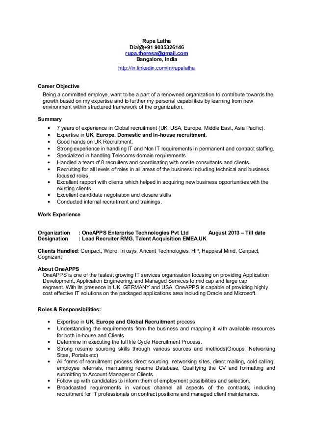 recruiter resume objective - Minimfagency
