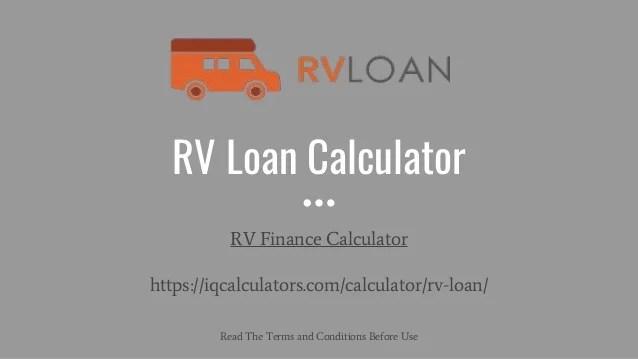 RV Loan Calculator | RV Loan Payment Calculator