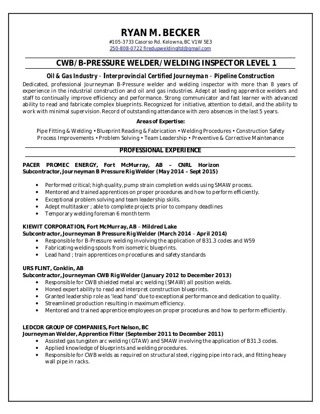 rig welder resume - Yelommyphonecompany - resume for welders