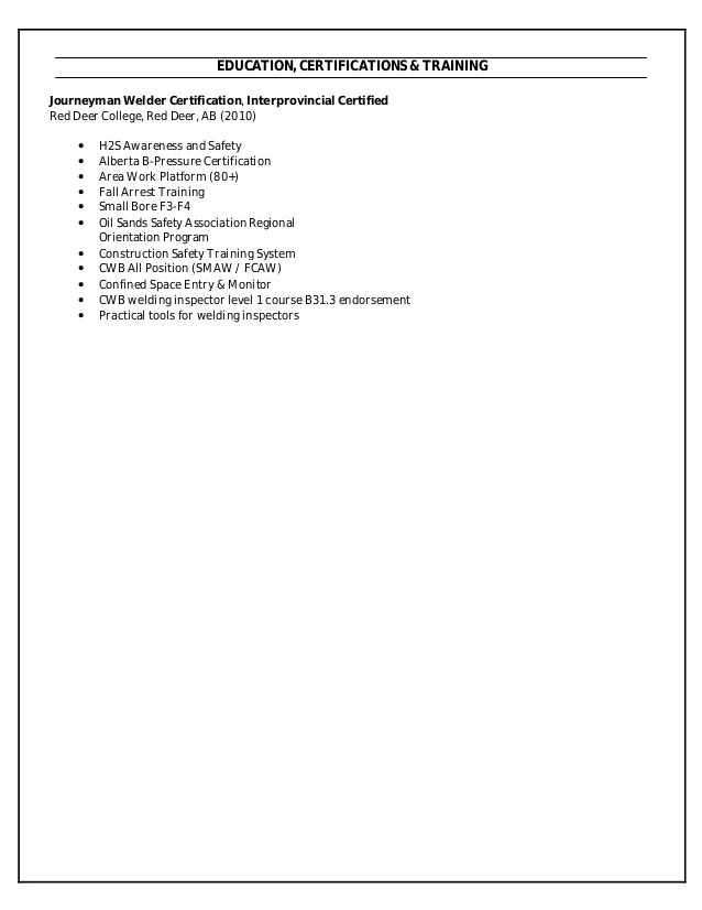 resume for welder