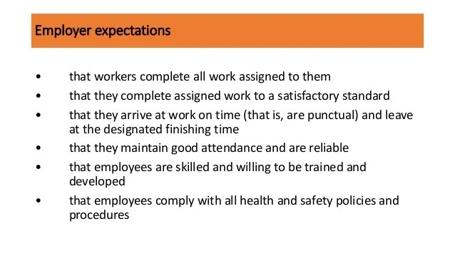 employee expectation list