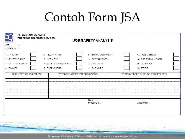 jsa template word - Alannoscrapleftbehind - job safety analysis form template
