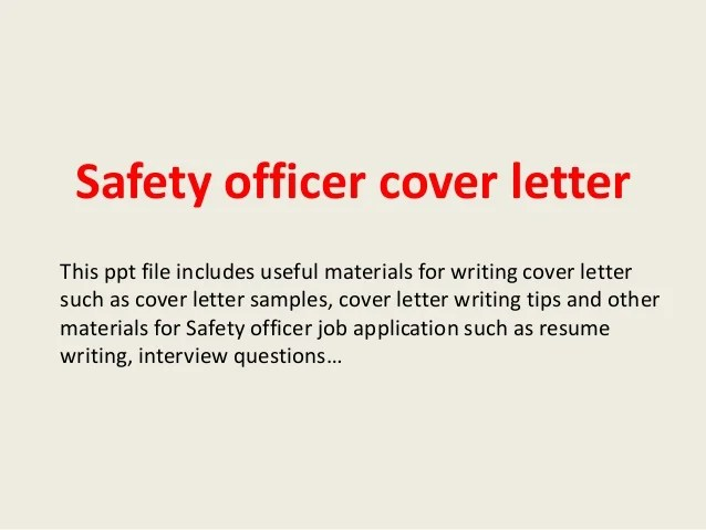 cover letter safety officer - Pinarkubkireklamowe