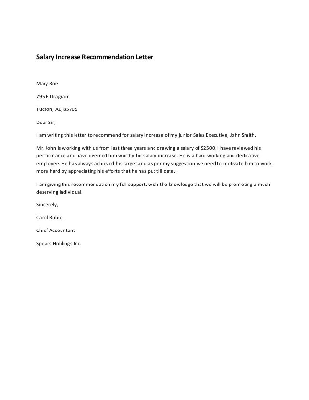 Recommendation Letter For An Employee Raise – Raise Letter Template