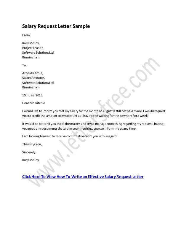 sample salary request letter - Towerssconstruction
