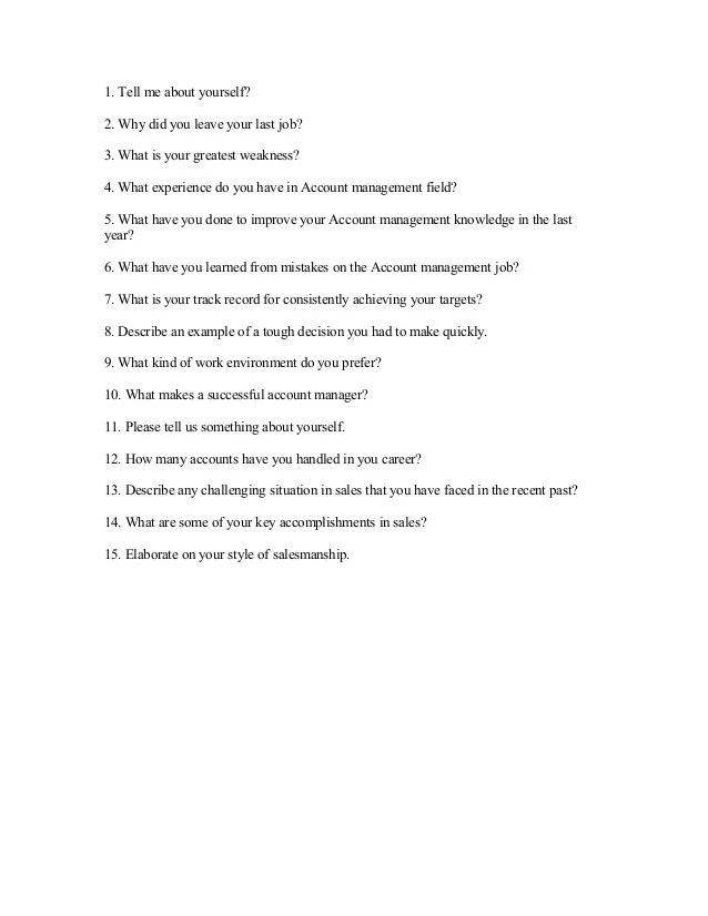 key account manager interview questions and answers - Minimfagency