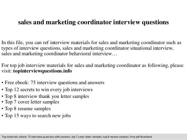 interview questions marketing coordinator - Onwebioinnovate