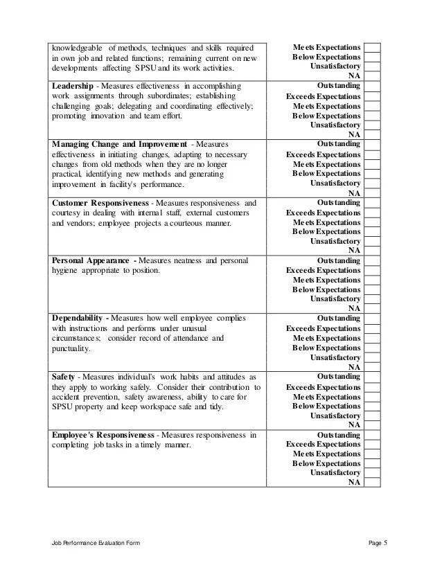 Work Performance Evaluation work performance evaluation template - work performance evaluation