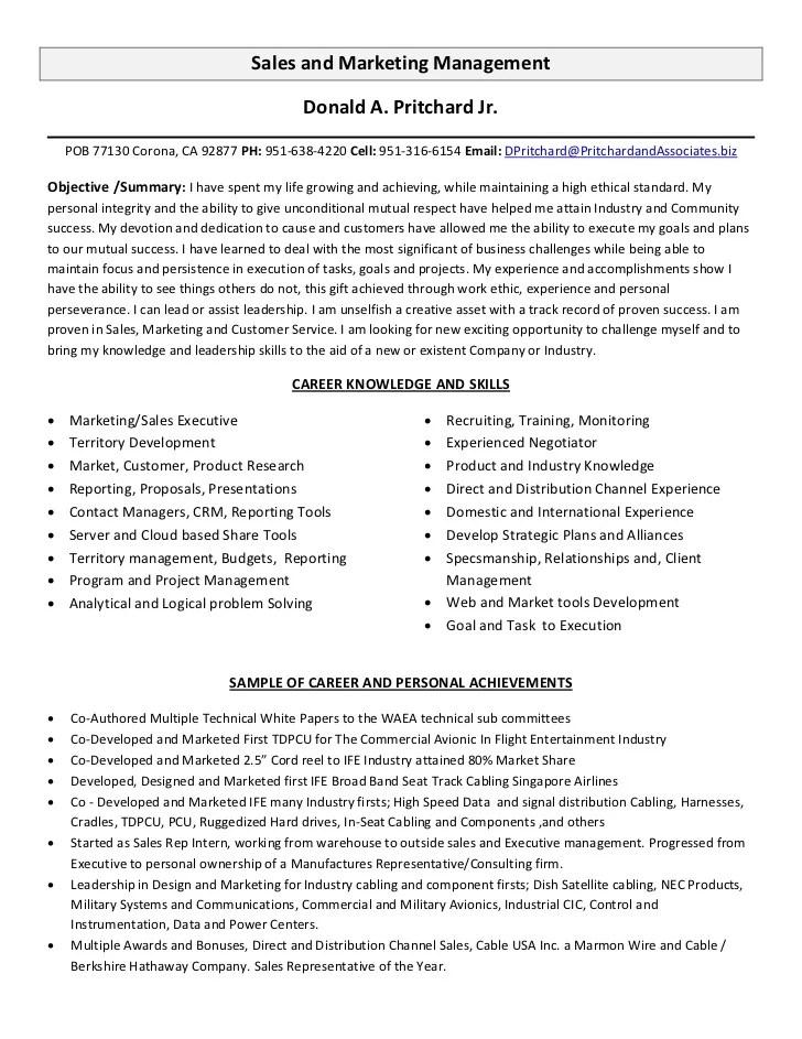 Salesperson Resume Sample Sample Salesperson Job Description Sales And Marketing Management Resume
