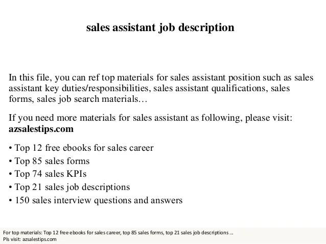 sale assistant job description - Maggilocustdesign - pca job description