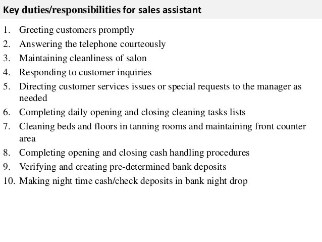 Clerical Assistant Example Resume Examplesof Sales Assistant Job Description