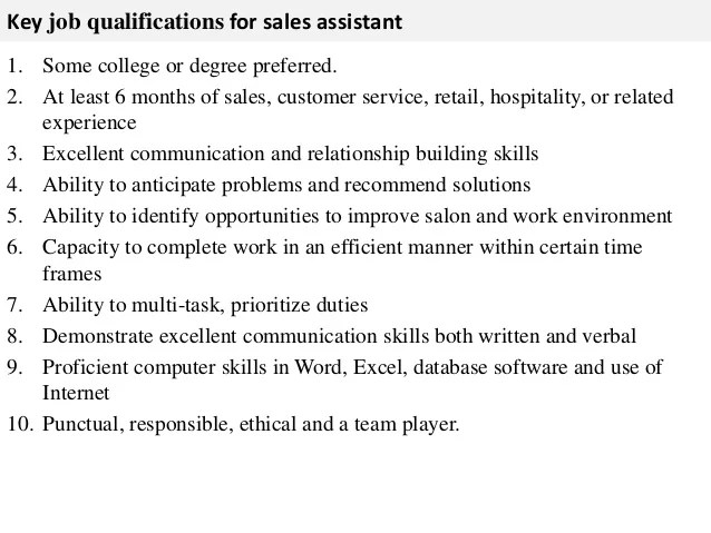 job description of a sales assistant - Eczasolinf