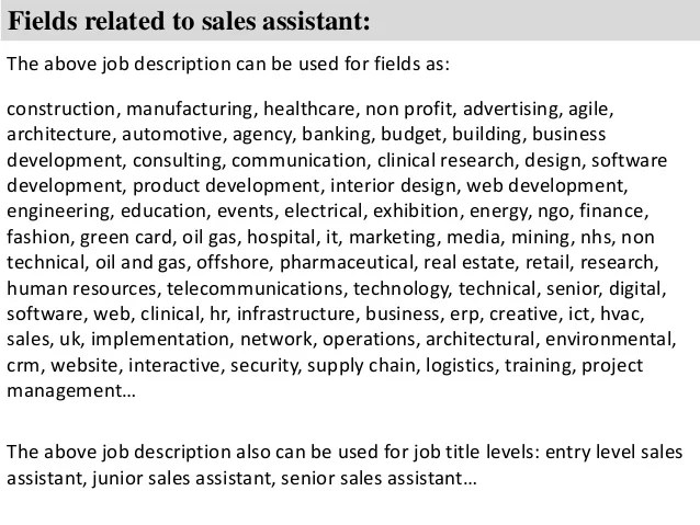 main responsibilities of a sales assistant - Eczasolinf