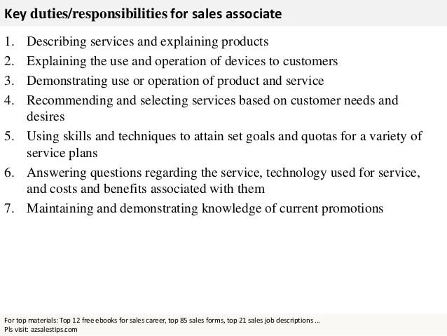 Retail Sales Associate Job Description Jobs Of A Sales Associate