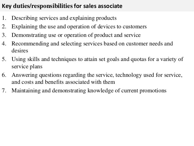 duties of a sales associate in retail - Onwebioinnovate - sales job description
