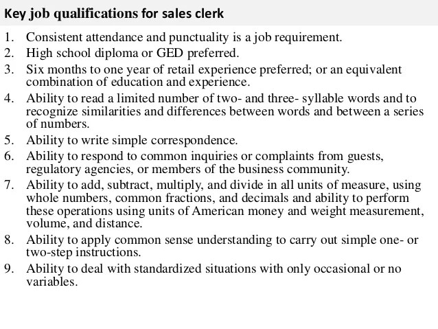 store clerk job description resumes