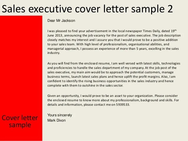 Cover Letter Example Executive Or Ceo Careerperfect Sales Executive Cover Letter