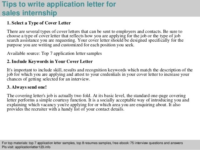 Cover Letter Examples Sales Internship Application Letter