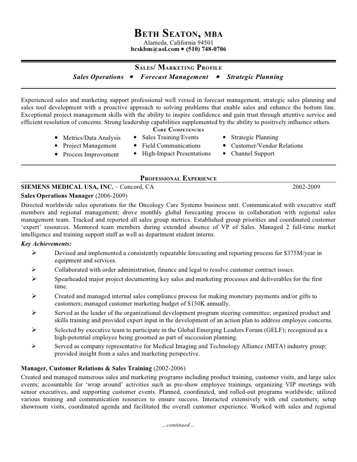 Sample Cv Vp Operations Linda G Branson Cpa 1965 5 Avenue New York Ny Sales Operations Beth Seaton Presentation Resume Feb2010