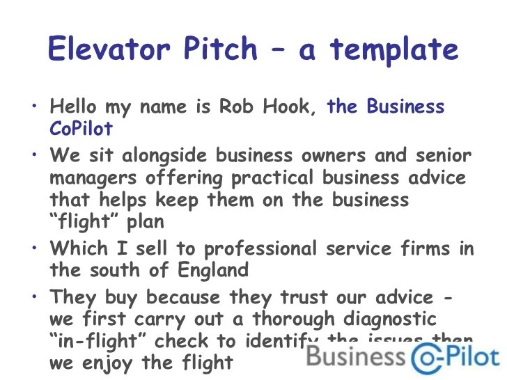 sales elevator pitch - Roho4senses - elevator pitch template
