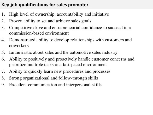 30 Best Examples Of What Skills To Put On A Resume Sales Promoter Job Description
