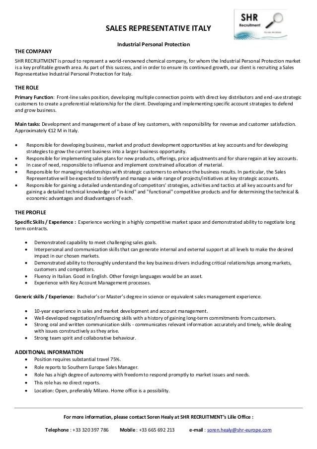 resume job description for sales representative