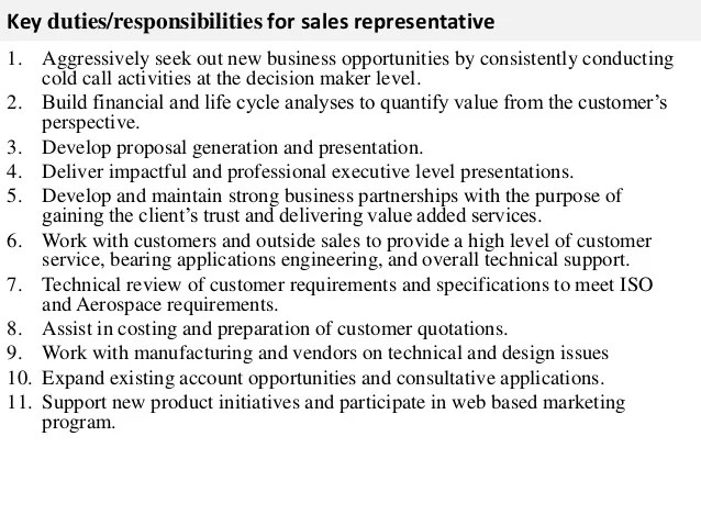Resume Job Description For Sales Representative  Employment