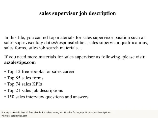 retail supervisor job description - zrom