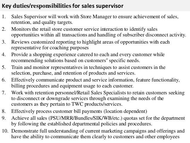 sales supervisor job description - Ukranagdiffusion
