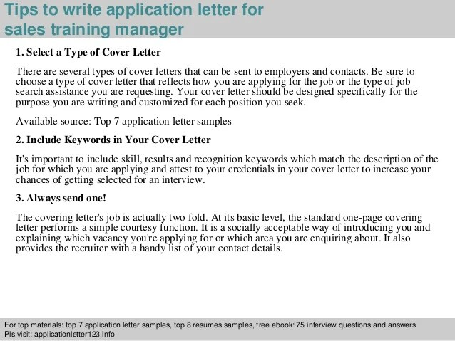 Application Letter Free Sample Letters Sales Training Manager Application Letter
