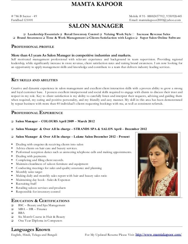 resume examples for salon managers best salon manager resume
