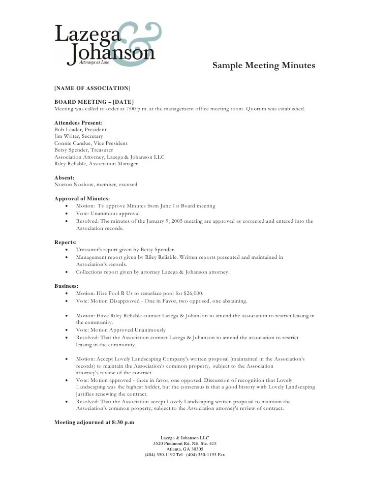 meeting minutes of