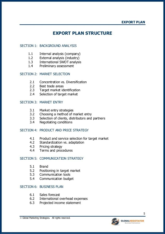 A Standard Business Plan Outline Updated For 2017 Bplans Export Plan Template And Example