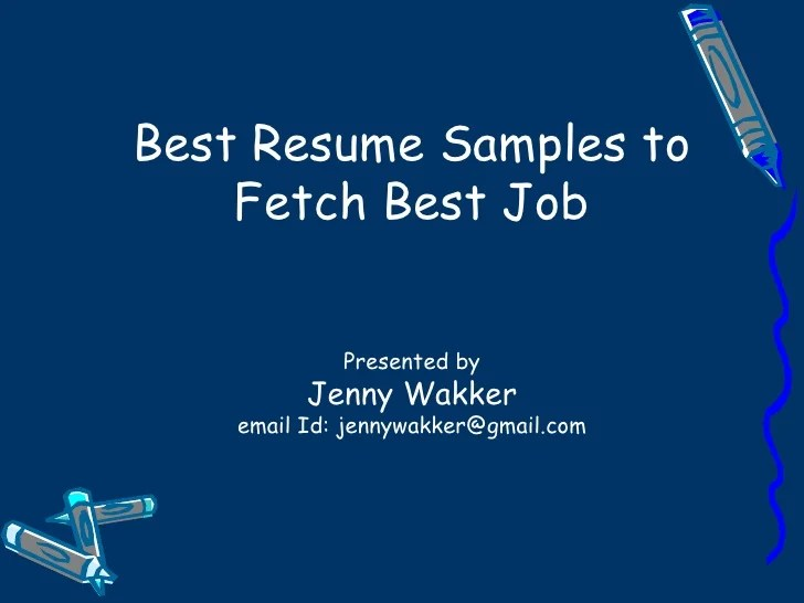 best resume samples to fetch a job