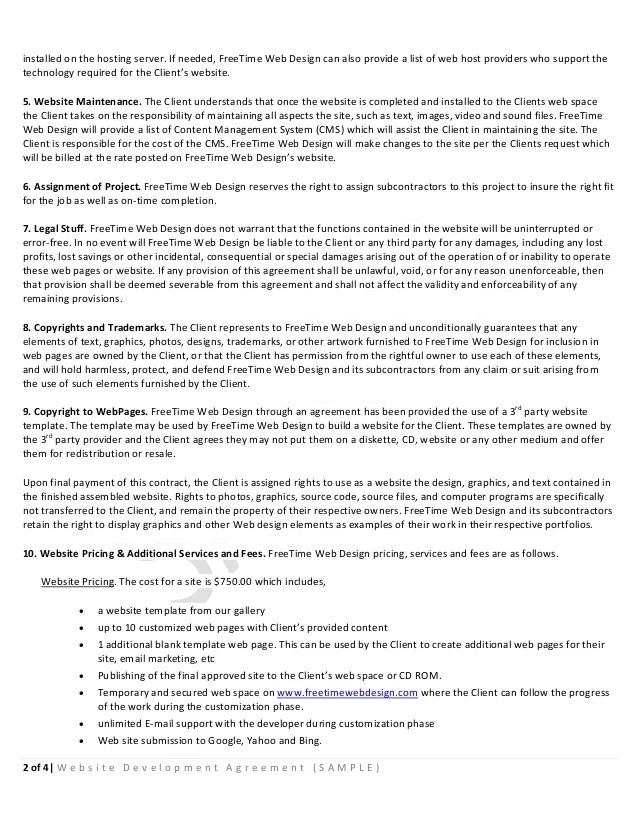 Development Agreement Contract Sample Website Development - development contract templates