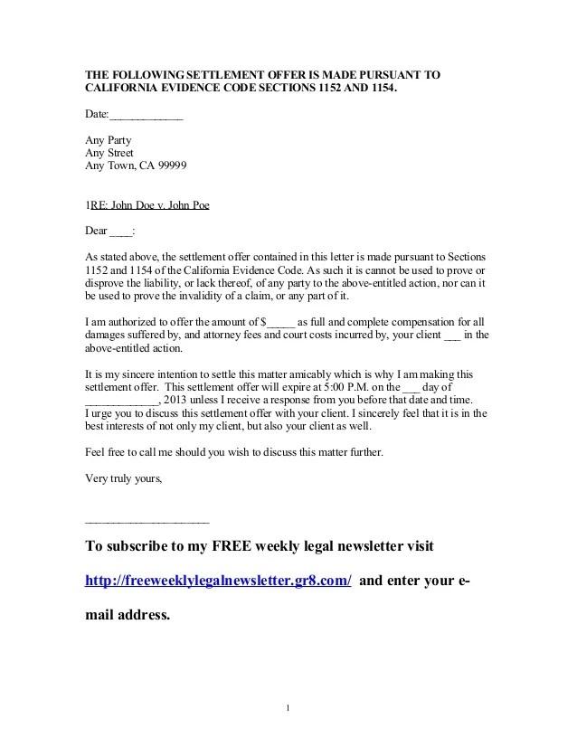 Small Claims Demand Letter Free Sample Doc Sample California Settlement Offer Letter