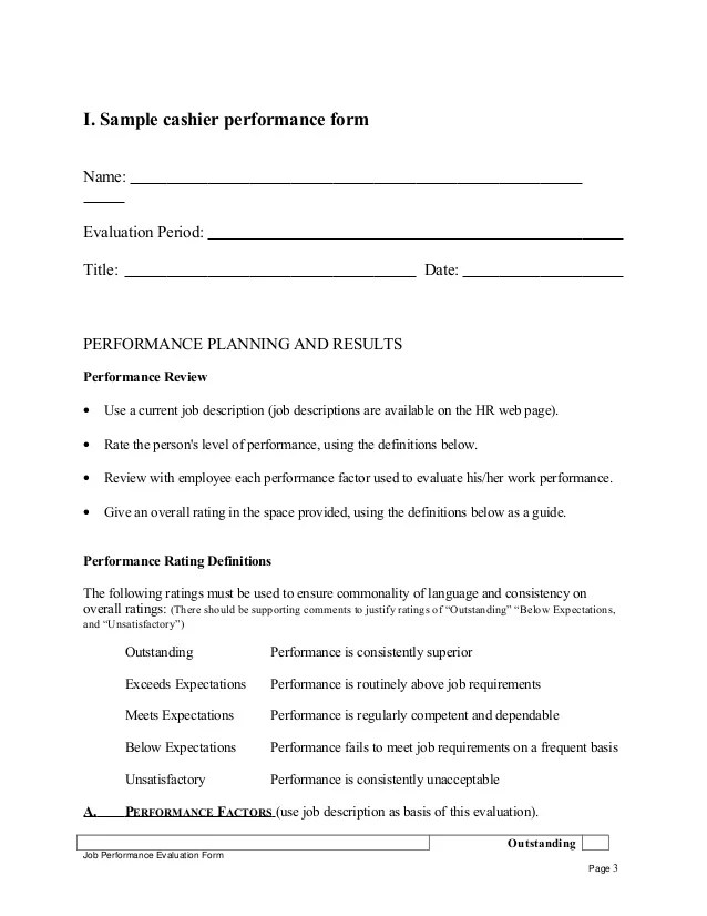 Sample Employee Evaluation Comments Performance Review Sample Cashier Performance Appraisal