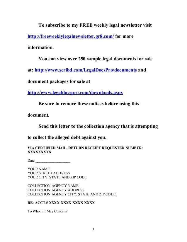 Sample Letter To Dispute A Debt From Collection Agency – Cease and Desist Letter Sample