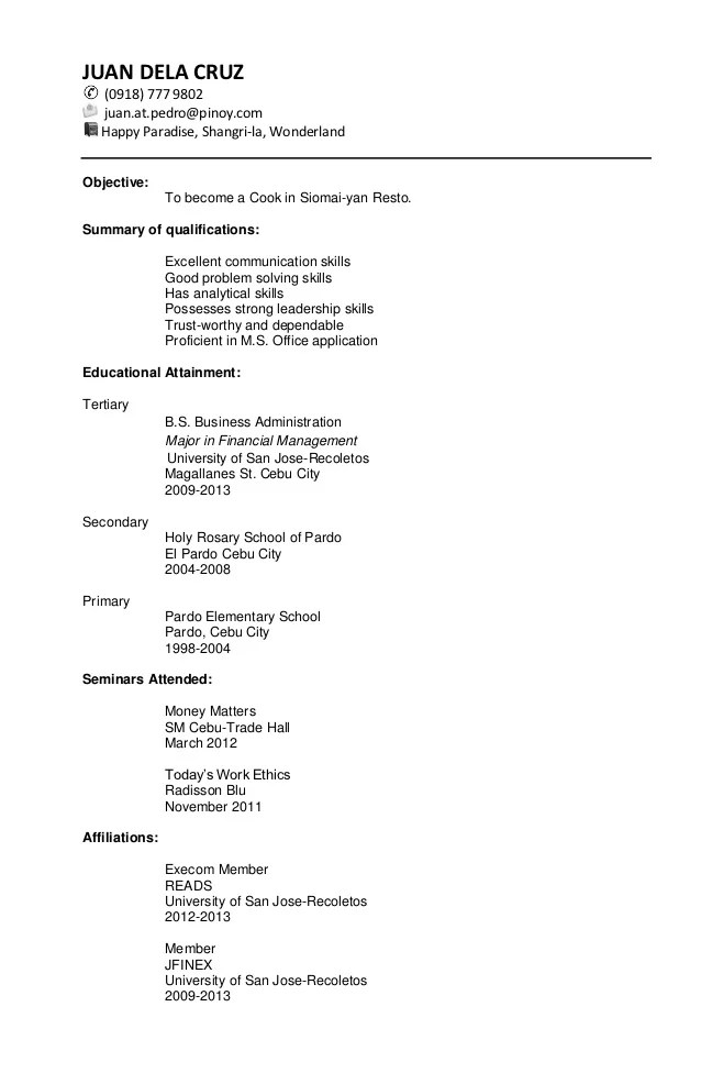 sample resume for a business administration graduate