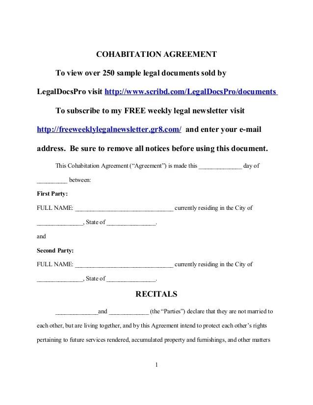 cohabitation agreement sample - Boatjeremyeaton