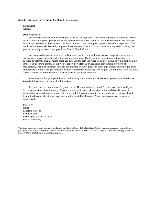 Example Of Cover Letter For Research Questionnaire Research Questionnaire Format Format Of Research Sample Cover Letter And Informed Consent