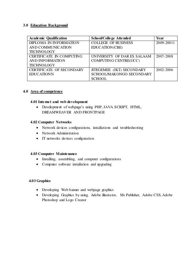 competence cv site internet