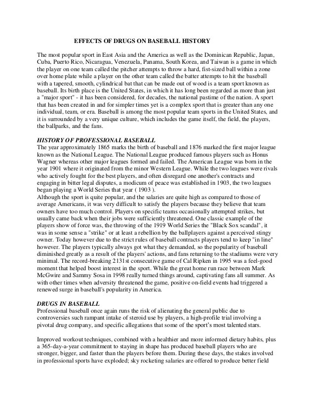 Effects of Drugs on Baseball History - Sample Essay