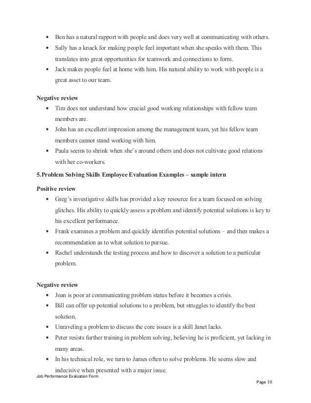 240 Performance Evaluation Phrases Sample Performance Sample Intern Performance Appraisal