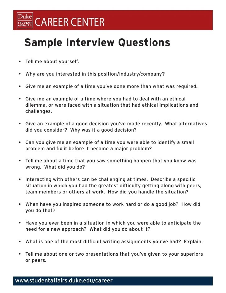example of interview questions - Eczasolinf