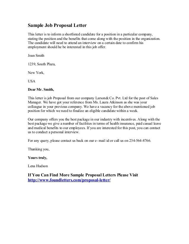 Job Bid Proposal Sample  Cover Letter Sample Application Job